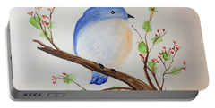 Chickadee On A Branch With Leaves Portable Battery Charger