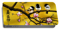 Portable Battery Charger featuring the digital art Chickadee On Blooming Magnolia Branch by John Wills