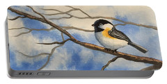 Chickadee On Branch Portable Battery Charger by Brenda Bonfield