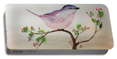 Chickadee Standing On A Branch Looking Portable Battery Charger