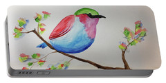 Chickadee With Green Head On A Branch Portable Battery Charger