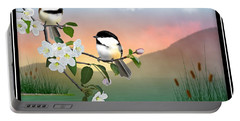 Chickadees And Apple Blossoms Portable Battery Charger