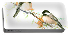 Chickadees And Orange Flowers Portable Battery Charger