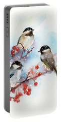 Chickadees With Berries Portable Battery Charger