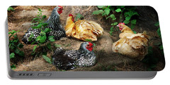 Chicken Dust Bath Party Portable Battery Charger by Joy Nichols