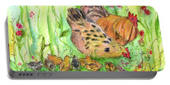 Portable Battery Charger featuring the painting Chicken Family by Cathie Richardson