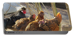 Chicken Protest Portable Battery Charger by Jeanette Oberholtzer