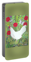 Chicken With Millefleurs And Butterflies  Portable Battery Charger