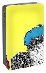 Portable Battery Charger featuring the painting Chickens One by Jason Tricktop Matthews