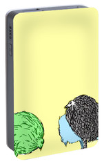 Portable Battery Charger featuring the painting Chickens Three by Jason Tricktop Matthews