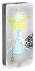Portable Battery Charger featuring the painting Chihuahua Cookie Baby by Catia Lee