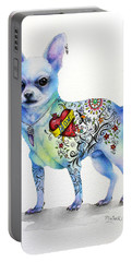 Portable Battery Charger featuring the painting Chihuahua Topo by Patricia Lintner