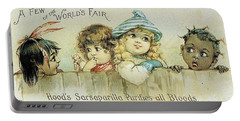 Children On A Fence Portable Battery Charger by Reynold Jay