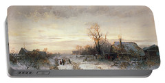 Children Playing In A Winter Landscape Portable Battery Charger