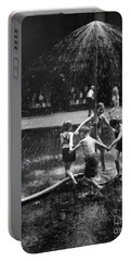 Children Playing In Spray From Hydrant Portable Battery Charger