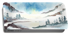 Children's Book Illustration Of Mountains Portable Battery Charger