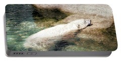 Portable Battery Charger featuring the photograph Chillin' Polar Bear by Pennie  McCracken