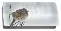 Portable Battery Charger featuring the mixed media Chilly Song Sparrow by Lori Deiter
