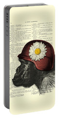 Chimpanzee With Helmet Daisy Flower Dictionary Art Portable Battery Charger