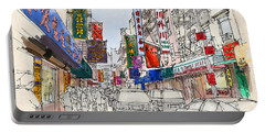 Chinatown, Manhattan Sketch, Colorful Handmade Drawing Of New York Portable Battery Charger