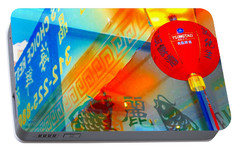 Portable Battery Charger featuring the photograph Chinatown Window Reflection 3 by Marianne Dow
