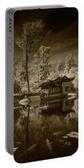 Portable Battery Charger featuring the photograph Chinese Botanical Garden In California With Koi Fish In Sepia Tone by Randall Nyhof