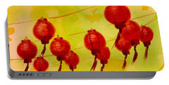 Portable Battery Charger featuring the painting Chinese Lanterns by Maria Langgle