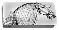 Portable Battery Charger featuring the drawing Chinese War Horse 2 by Jani Freimann
