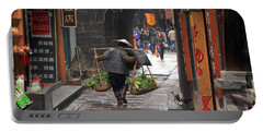 Chinese Woman Carrying Vegetables Portable Battery Charger