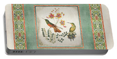 Chinoiserie Vintage Hummingbirds N Flowers 1 Portable Battery Charger by Audrey Jeanne Roberts