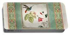 Chinoiserie Vintage Hummingbirds N Flowers 2 Portable Battery Charger by Audrey Jeanne Roberts
