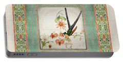 Chinoiserie Vintage Hummingbirds N Flowers 3 Portable Battery Charger