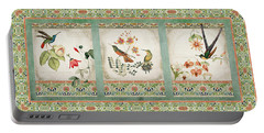 Triptych - Chinoiserie Vintage Hummingbirds N Flowers Portable Battery Charger