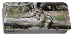 Chipmunk At Yellowstone Portable Battery Charger by Ausra Huntington nee Paulauskaite