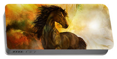 Chitto Black Spirit Horse Portable Battery Charger by Shanina Conway