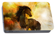 Portable Battery Charger featuring the painting Chitto Black Spirit Horse by Shanina Conway
