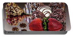 Chocolate And Strawberries Portable Battery Charger by Shirley Mangini