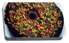 Portable Battery Charger featuring the painting Chocolate Donut And Sprinkles Large Painting by Linda Apple