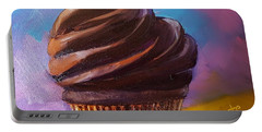 Portable Battery Charger featuring the painting Chocolate Fudge Cupcake by Judy Fischer Walton
