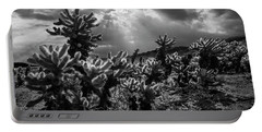 Portable Battery Charger featuring the photograph Cholla Cactus Garden Bathed In Sunlight In Black And White by Randall Nyhof