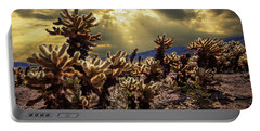 Cholla Cactus Garden Bathed In Sunlight In Joshua Tree National Park Portable Battery Charger