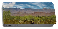 Cholla Saguaro And The Mountains Portable Battery Charger by Anne Rodkin