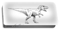 Tyrannosaurus Rex Dinosaur T-rex Ink Drawing Illustration Portable Battery Charger by Karen Whitworth