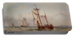 Portable Battery Charger featuring the painting Choppy Waters by Henry Redmore