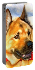 Portable Battery Charger featuring the painting Chow Shepherd Mix by Marilyn Jacobson