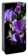 Portable Battery Charger featuring the photograph Chris' Garden - Purple Iris 1 by Stuart Turnbull