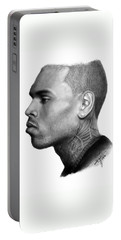 Chris Brown Drawing By Sofia Furniel Portable Battery Charger