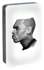 Chris Brown Drawing By Sofia Furniel Portable Battery Charger by Sofia Furniel