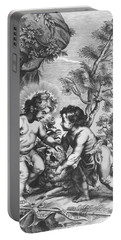 Christ And John The Baptist  Behold The Lamb Of God Portable Battery Charger