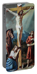 Christ On The Cross, Chromolithograph From A Home Bible, 1870 Portable Battery Charger